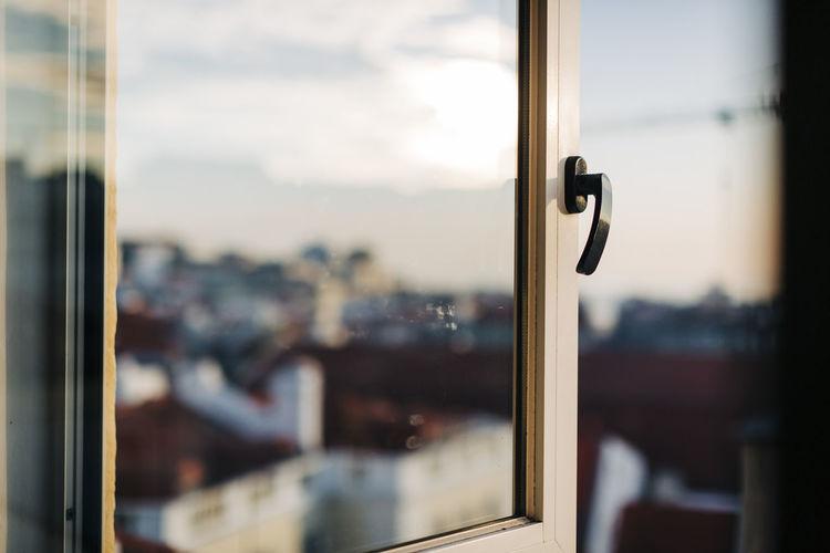 Close-up of glass door