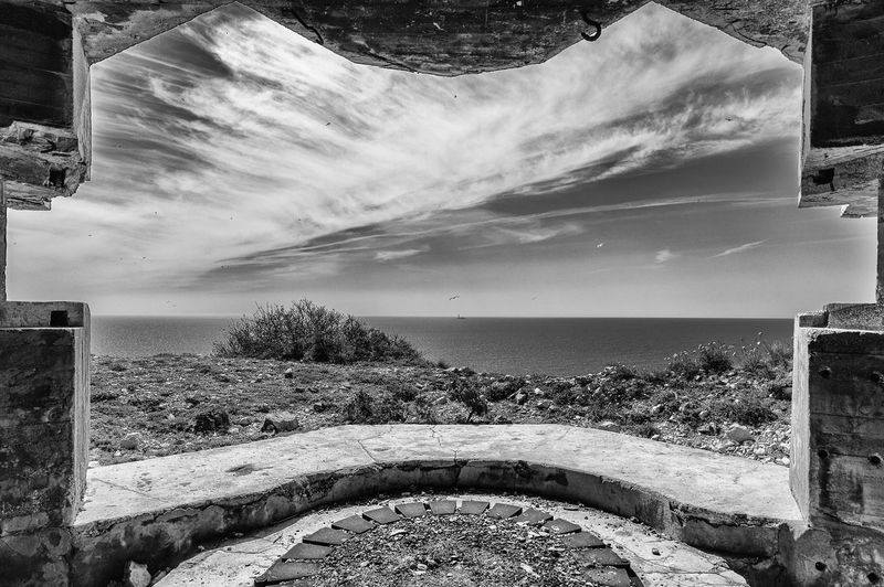 Bunker Architecture Beauty In Nature Blockaus Built Structure Cloud - Sky Day History Horizon Horizon Over Water J2mc-photographie Nature No People Outdoors Plant Scenics - Nature Sea Sky Tranquil Scene Tranquility Tree Water