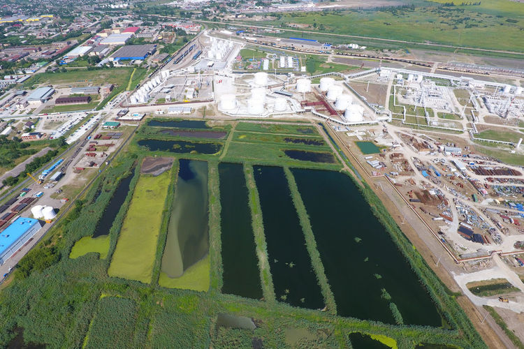 High angle view of agricultural field in city