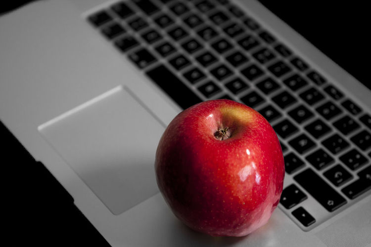 Directly above shot of apple on table