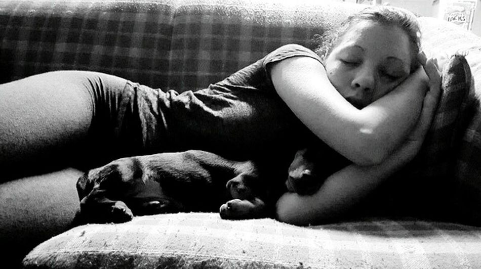 sleeping sleep sleeping with my dog black & white lazy day peaceful content my daughter Black And White Friday
