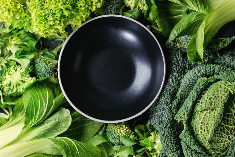 Directly above shot of green leaves in bowl