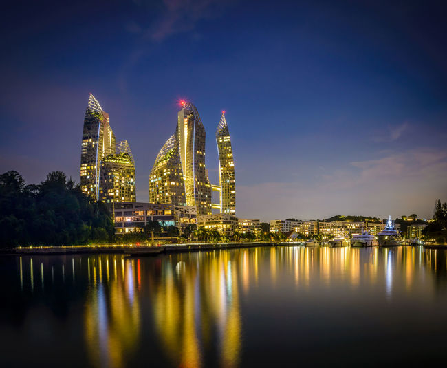 Keppel by night Architecture Building Exterior Built Structure Illuminated Industry Keppel Bay Night No People Outdoors Reflection Sky Water Waterfront