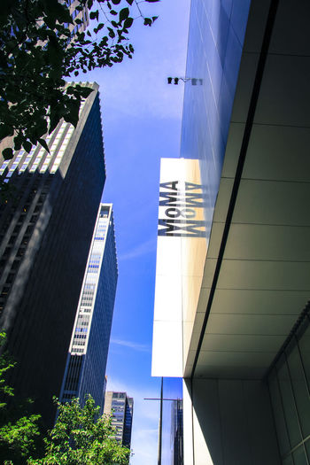 New York Architecture Built Structure Building Exterior Building City Low Angle View Nature Sky Day Office No People Office Building Exterior Blue Tall - High Modern Glass - Material Sunlight Plant Outdoors Tree Skyscraper Directly Below Financial District  Moma N.Y. Moma