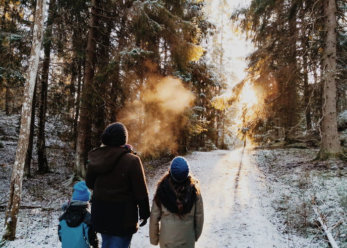 Rear view of family walking on snow covered land