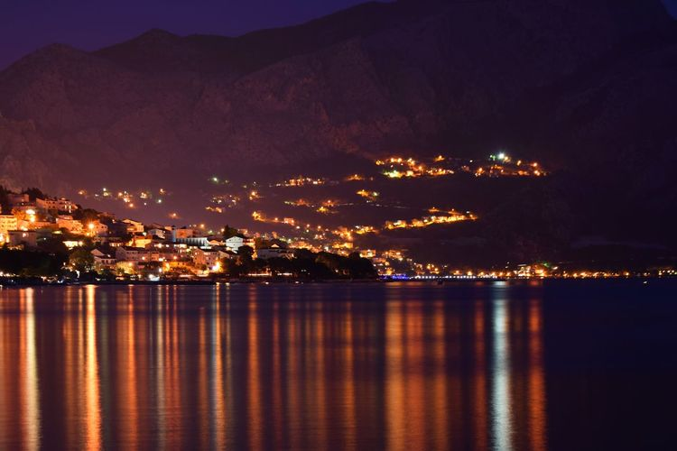 City Cityscape Croatia Dalmatian EyeEm Best Shots EyeEm Gallery Hrvatska Light Long Exposure Mountain Mountain Range Night Nikon D3300 Ocean Outdoors Photography Reflection Sea Showcase July Summer Town Tranquil Scene Tranquility Water Reflections Waterfront