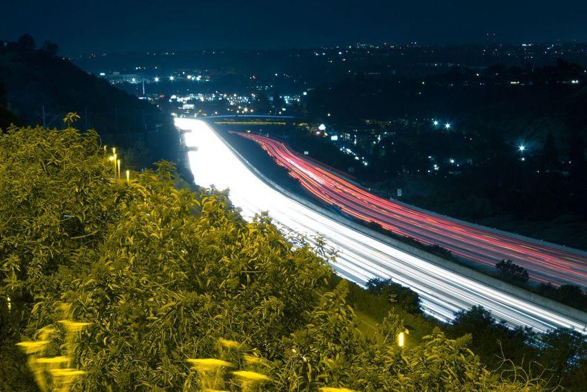 Light trails, long exposure, SDSU, headlights, tail lights. 2694466 San Diego Ca Mode Of Transport City Long Exposure Night Photography Light Trails
