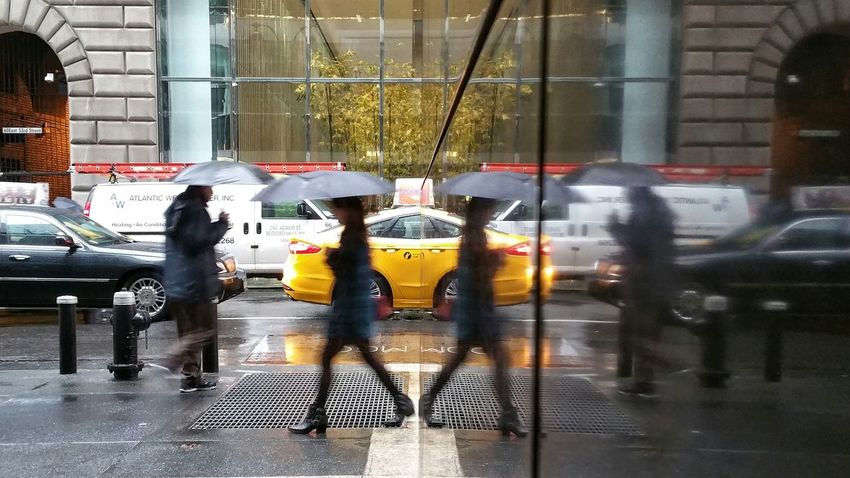 Coming And Going Reflections Polished Stone NYC Taxi Rain Umbrellas Open Edit