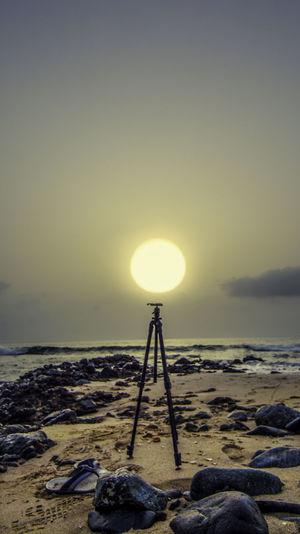 Abandoned Camera Tripod On Beach