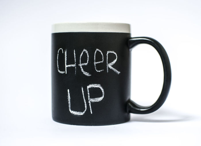 Cheerfulness Black Color Cheer Up Cheerful Coffee - Drink Coffee Cup Communication Drink Message Mocha Mug No People Studio Shot Text