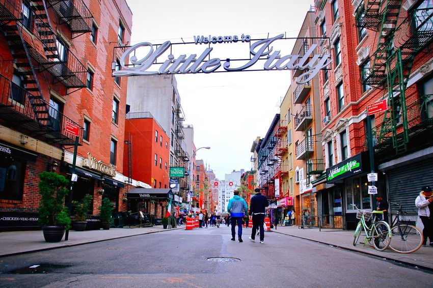 New York city Littleitalynyc Building Exterior Architecture Built Structure City Street Group Of People Sky