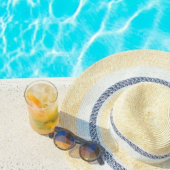 Bright Pool Poolside Sunnies Sunglasses Hat Hanging Out Relaxing Vacation