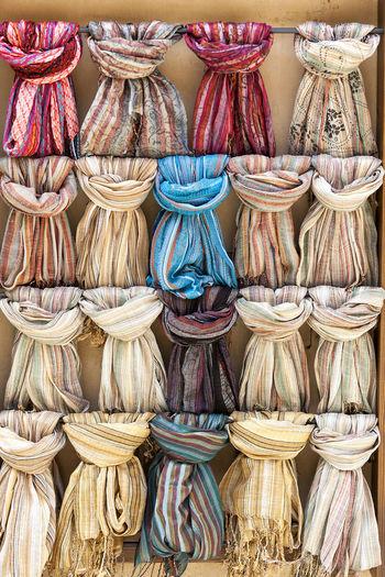 Full frame shot of colorful scarfs for sale in market