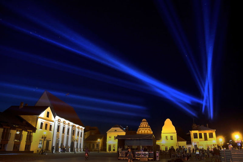 Kedainiai Old Town Lithuania Lithuania Nature Architecture Blue Building Building Exterior Built Structure City City Life Glowing Illuminated Kėdainiai Light Light Beam Lighting Equipment Lithuania Travel Long Exposure Nature Night Nightlife No People Place Of Worship Sky Stage