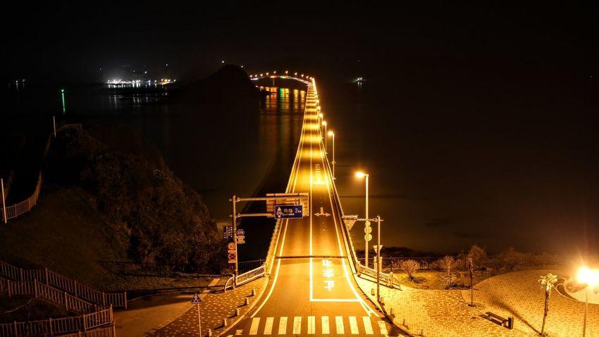 夜の角島大橋 Bridge Japan Night No People Outdoors Transportation Tsunoshima Tsunoshima-Bridge Welcome To Black
