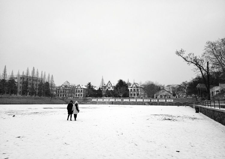 Press For Progress Phone Photography Black & White Blackandwhite Photography PhonePhotography Winter Snow Covered Adults Only Snow Nature Sky Day Colour Your Horizn The Street Photographer - 2018 EyeEm Awards