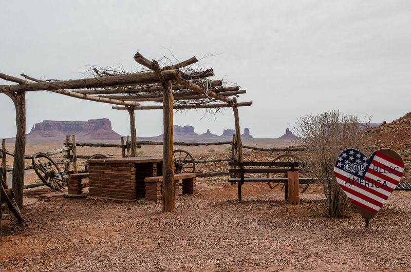 Lifeguard hut on field against sky