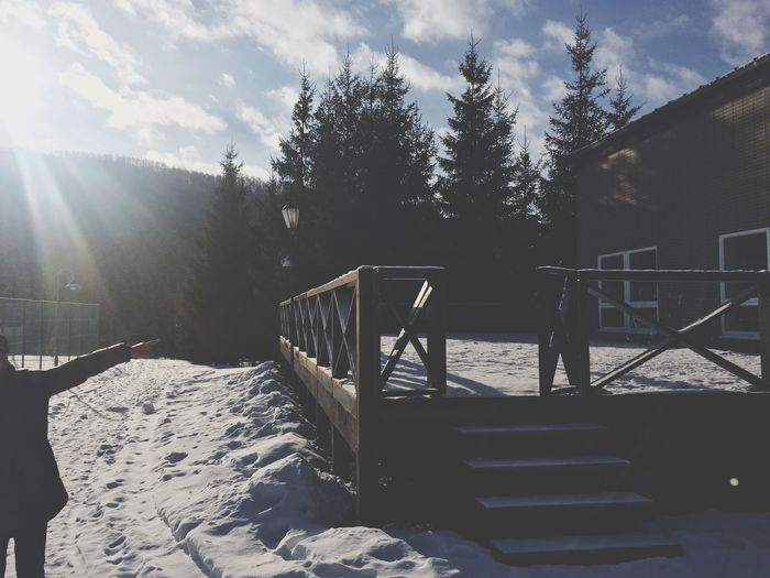 Railing Cold Temperature Sunlight Snow Tree Outdoors Beauty In Nature Wood - Material Sky Nature Winter Tranquility Tranquil Scene Scenics No People Sunbeam Day
