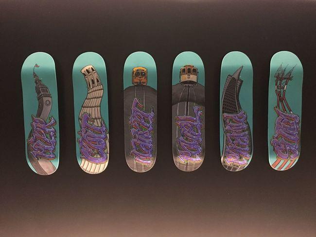 Graffiti on a skateboard. San Francisco style. The Stanford Court Hotel San Francisco Street Art/Graffiti