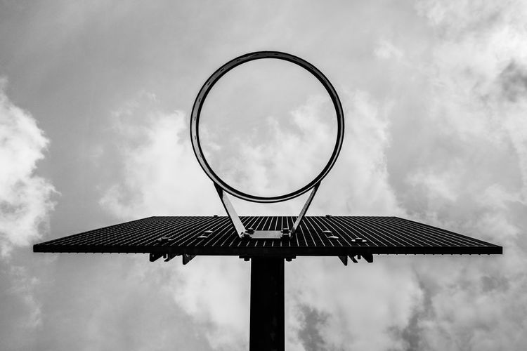 The Basket Basketball - Sport Basketball Hoop Blackandwhite Circle Cloud - Sky Day Directly Below Focus On Foreground Geometric Shape Low Angle View Metal Nature Net - Sports Equipment No People Outdoors Pole Shape Sky Sport Sunlight #urbanana: The Urban Playground