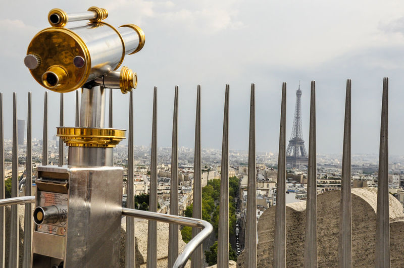 Hand-held telescope against eiffel tower in city