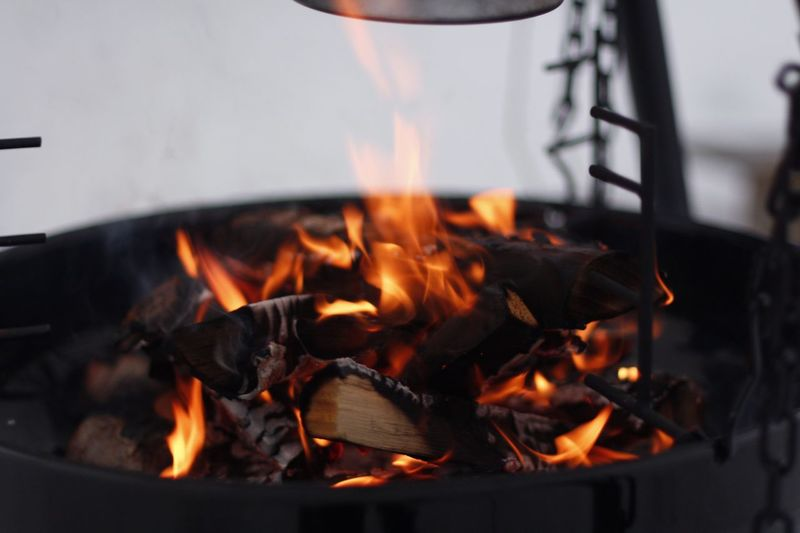 Close-up of fire burning in wood