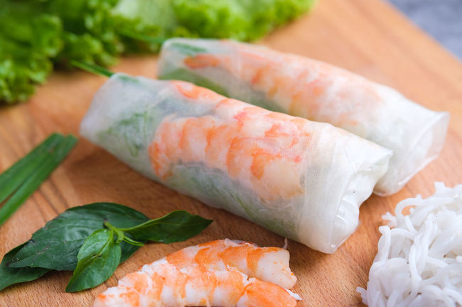 Asian Food Chopped Close-up Cutting Board Fish Food Food And Drink Freshness Healthy Eating Herb High Angle View Indoors  Japanese Food Leaf Raw Food Ready-to-eat Seafood Still Life Table Temptation Vegetable Vietnamese Rolls Wellbeing