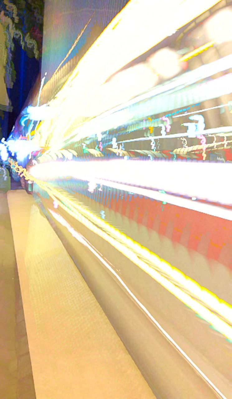 transportation, illuminated, railroad station platform, indoors, no people, multi colored, night, close-up