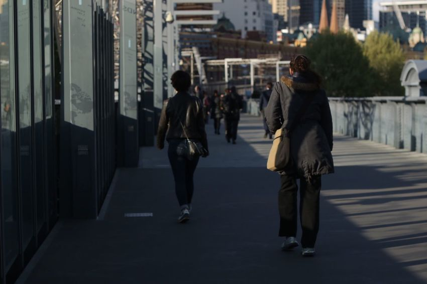 City City Life Foot Bridge People Out Of Focus Pedestrians Buildings Modern Architecture Classic 19th Century Buildings After Work Afternoon Sun Melbourne City The City Light