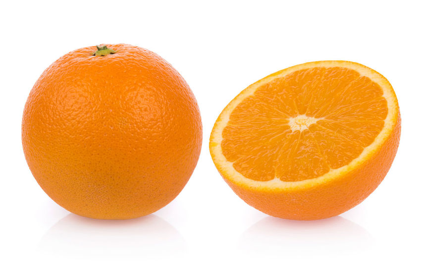 fresh orange isolated on white background Citrus Fruit Close-up Cross Section Cut Out Food Food And Drink Freshness Fruit Healthy Eating Indoors  No People Orange Orange - Fruit Orange Color Ripe Still Life Studio Shot Two Objects Wellbeing White Background