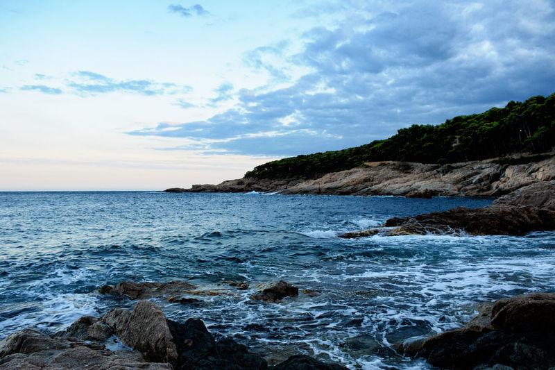 Costa brava. Mediterranean coast in Tamariu (Catalonia) Catalonia Is Not Spain Mediterranean  Mediterranean Sea Nature Sunset Silhouettes Calm Sea Coast Horizon Over Water Landscape Pine Trees