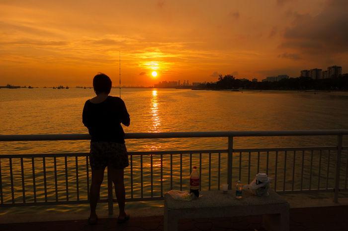 Sunset Orrange Sky Fishing Time Shadow Man Fishing Man