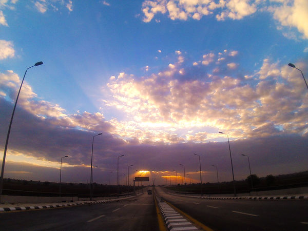 Awesome Sky With SunRise High Way Morning Sky And Clouds Blue Sky Clouds Sky Street Sunrise