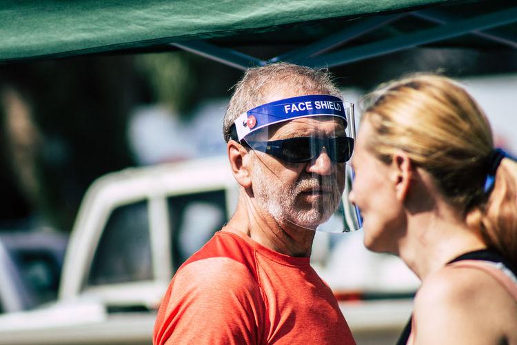 Portrait of friends wearing sunglasses