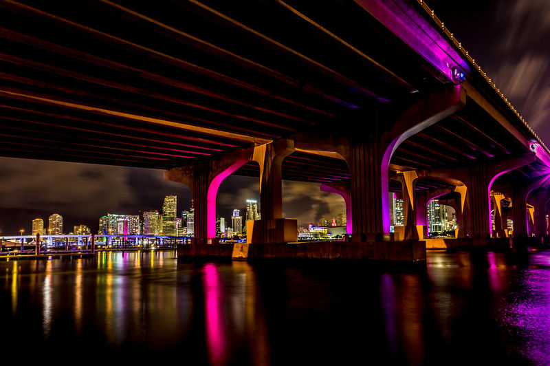 Architecture Bridge - Man Made Structure Built Structure Illuminated Long Exposure Night No People Outdoors Reflection Sky Water