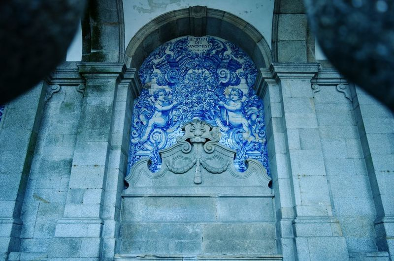 The blue side of the cathedral... Architecture Built Structure No People Religion History Art And Craft Spirituality Azulejosportugueses Azulejos Porto Portugal Low Angle View