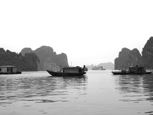 Water Nautical Vessel Transportation Waterfront Scenics Outdoors Sea Tranquility Longtail Boat Vietnam Vietnamphotography Vietnamtravel Ha Long Bay Ha Long Bay Cruise Ha Long Black And White Blackandwhite EyeEmNewHere Lost In The Landscape Black And White Friday An Eye For Travel