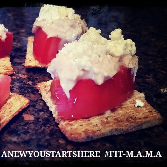 Fire Roasted Tomato and Olive oil Triscuit Fresh Tomato Tuna Feta Cheese Www.facebook.com/anewyoustartshere Fit -M.A.M.A