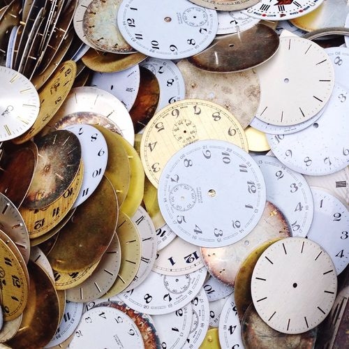 High angle view of clocks