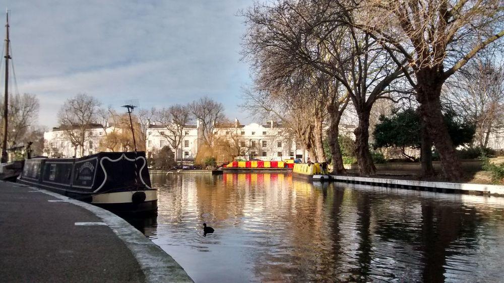 Autumn Ducks House Boat Lake Little Venice Lond Little Venice London Reflection Water