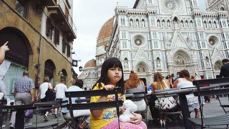 being different is ok,sometimes u need to look in different direction then others ! Little Girl Hanging Out Infront of Basilica Saint Mary Of The Flower Florence Italy Travel Photography