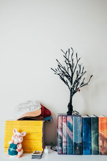 Indoors  No People Plant Vase Tree Nature Multi Colored Table Creativity Container Copy Space Still Life Art And Craft Wall - Building Feature Bare Tree Shelf Group Of Objects Paper Architecture Harry Potter