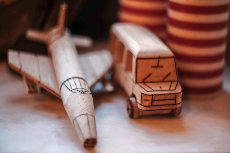 Close-up of wooden toys on table