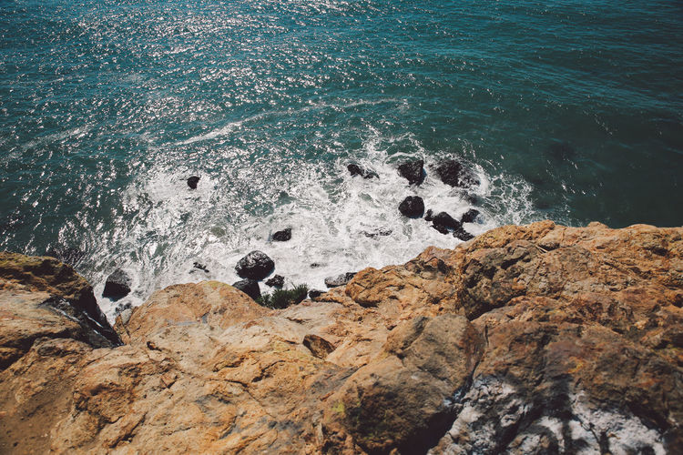 High angle view of rocky shore