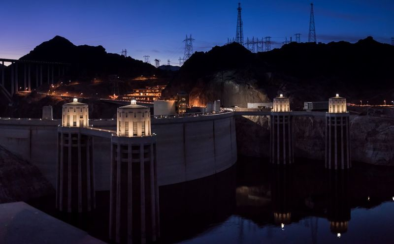 Hoover dam Architecture Built Structure Illuminated No People Night Electricity  Building Exterior Fuel And Power Generation Electricity Pylon