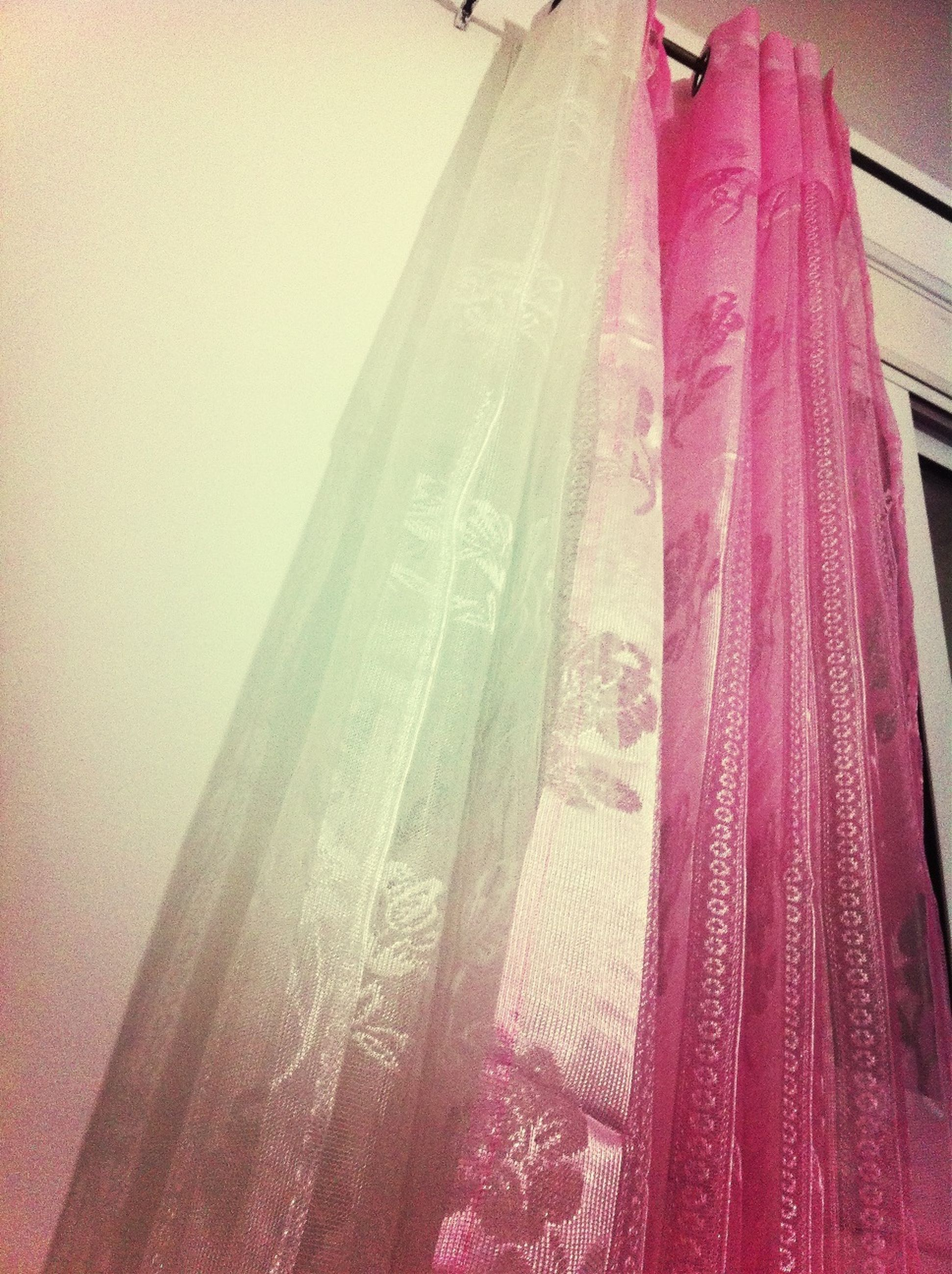 textile, fabric, indoors, clothing, hanging, no people, curtain, close-up, drying, day, multi colored, high angle view, red, sunlight, pink color, abundance, variation, panoramic, material