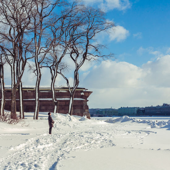 City Cloud Day March Peter And Paul Fortress Sky Snow Spring Sunbathing Sunlight Sunshine Tree Urban Spring Fever My Favorite Photo