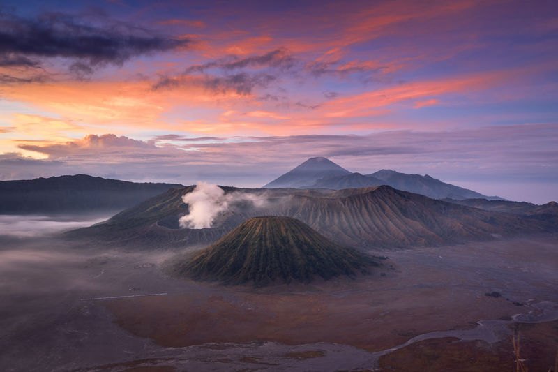 A colorful sky of mount bromo in the morning