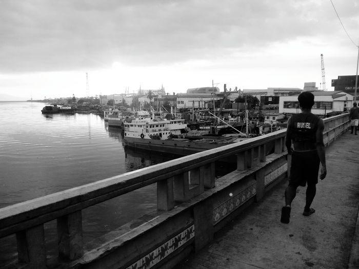 Black And White Port Area Shillouette Shipping  Manila Bridge Harbor Pasigriver