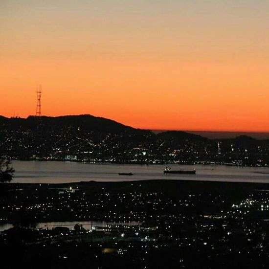 Sutrotower Sutro Sunset San Francisco City Skyline Bay Area Sunset Silhouettes Orange Sky